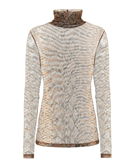 Dries Van Noten Brown Bedrucktes Top aus Chiffon