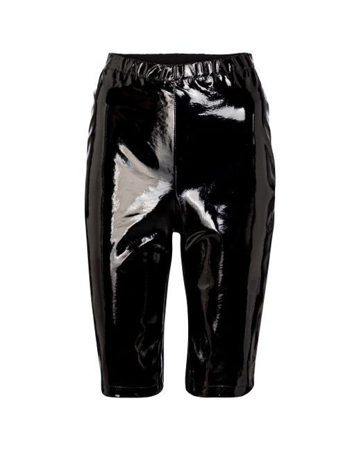 David Koma Black Shorts mit Lackleder