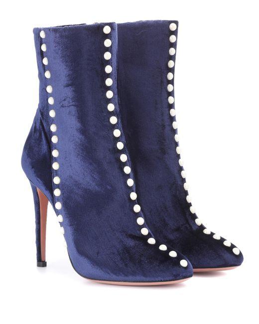 Aquazzura - Blue Follie Velvet Ankle Boots - Lyst