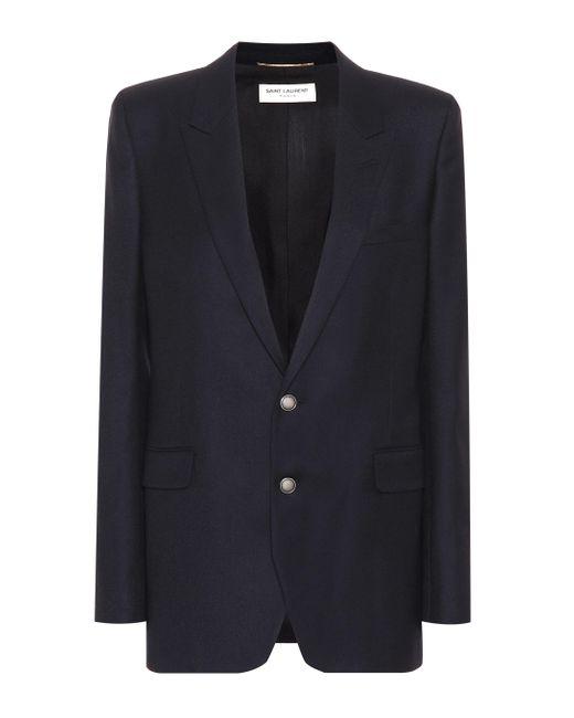Saint Laurent Blue Wool-gabardine Blazer