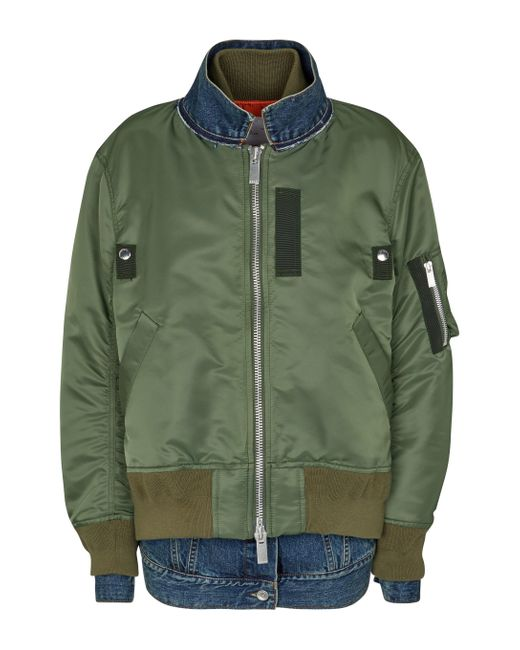 Veste en jean et nylon Sacai en coloris Green