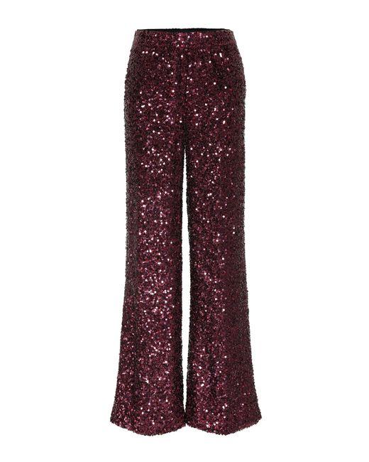 Victoria, Victoria Beckham Pantalones holgados con lentejuelas de mujer de color rojo
