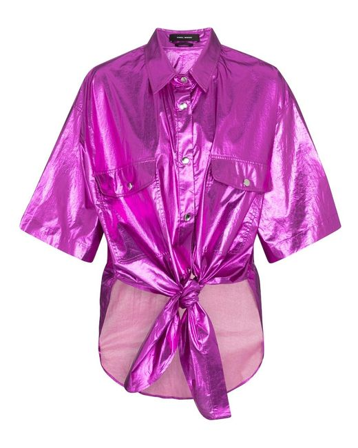 Camicia Giliggy in cotone lamé di Isabel Marant in Pink