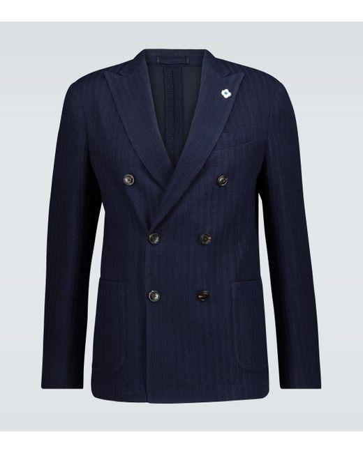 Lardini Blue Knitted Cotton-blend Blazer for men