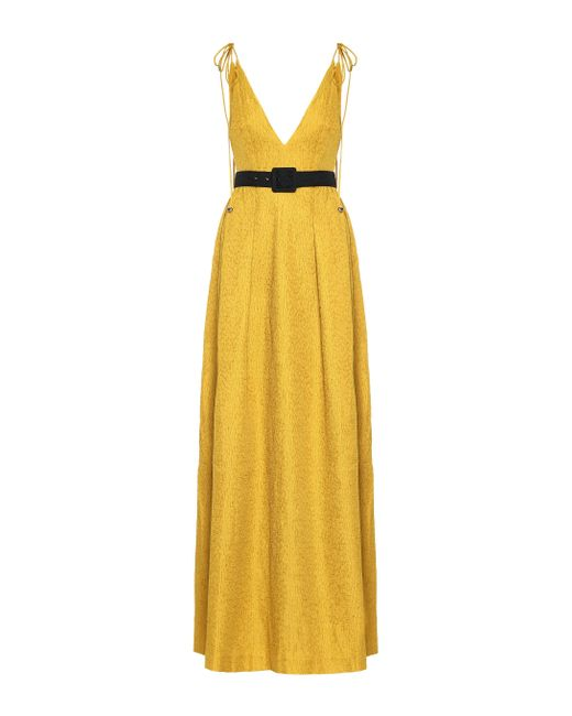 Rebecca Vallance Yellow Greta Belted Gown
