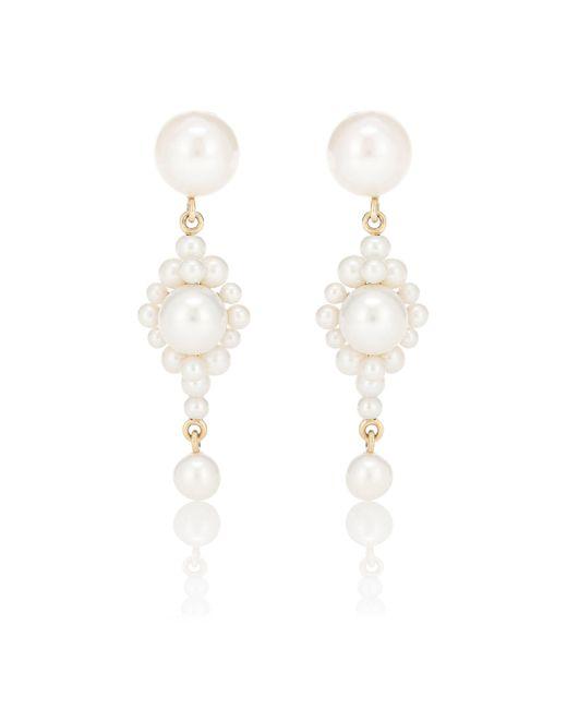 Boucles d'oreilles Venezia en or 14 ct et perles d'eau douce Sophie Bille Brahe en coloris White