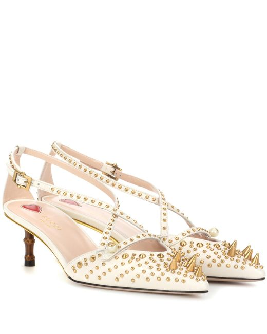 Gucci - White Embellished Leather Pumps - Lyst