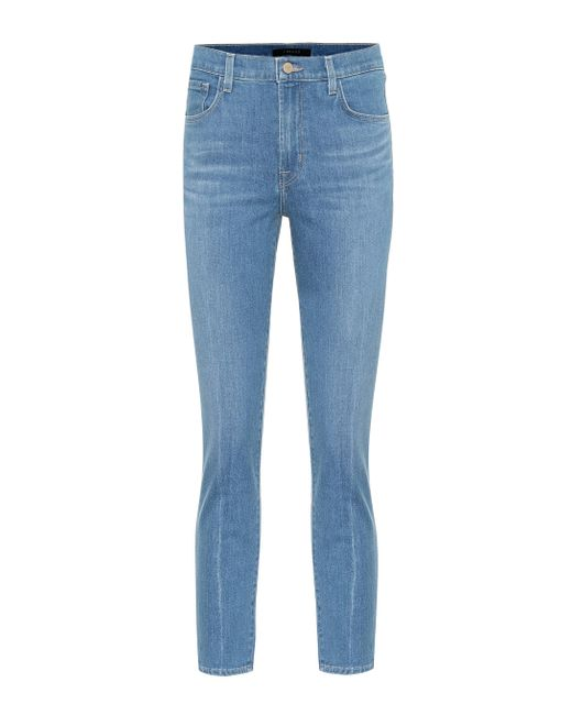 J Brand Blue High-Rise Cropped Jeans Ruby
