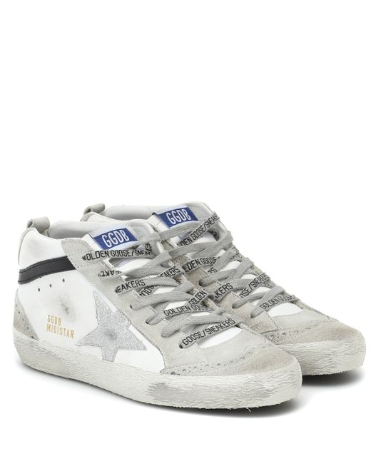 Golden Goose Deluxe Brand White Mid Star Leather Sneakers