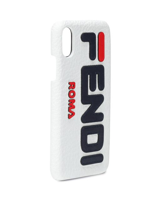 Fendi White Mania Leather Iphone X Case
