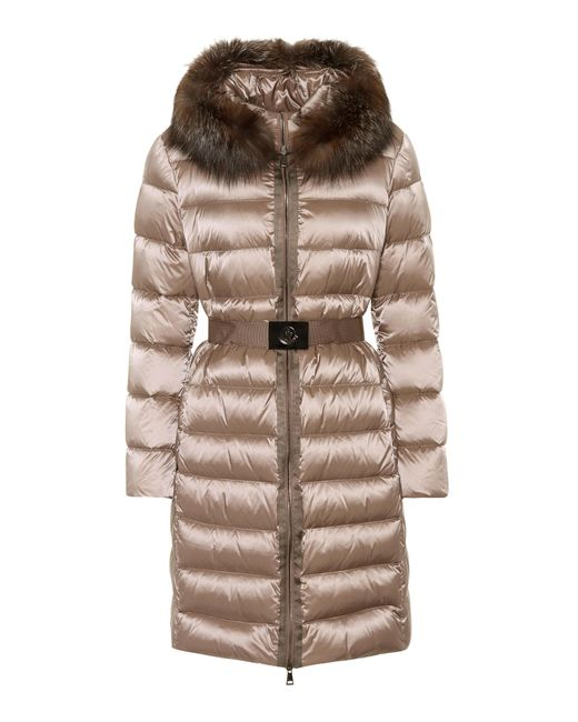 Moncler Brown Fur-trimmed Puffer Coat