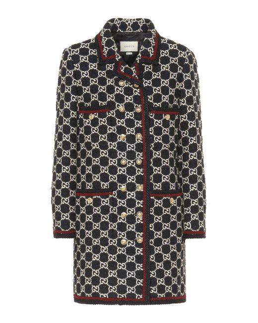 Gucci Black GG Tweed Coat