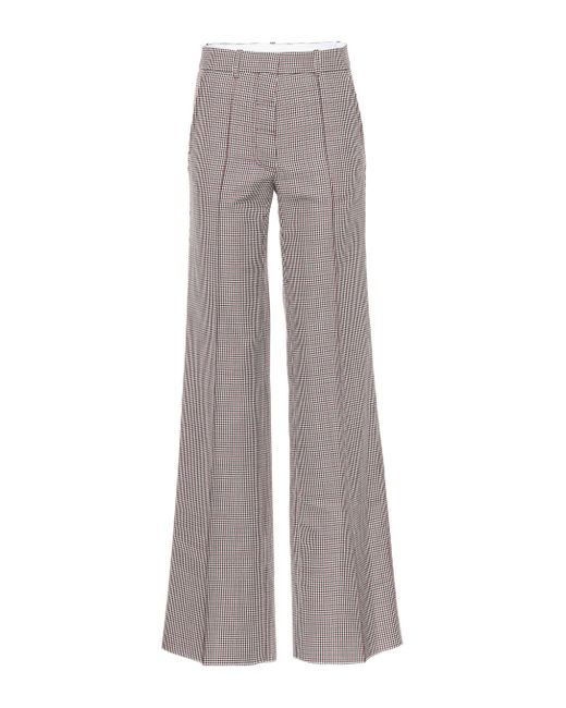 Victoria Beckham Red Checked Wool Wide-leg Pants