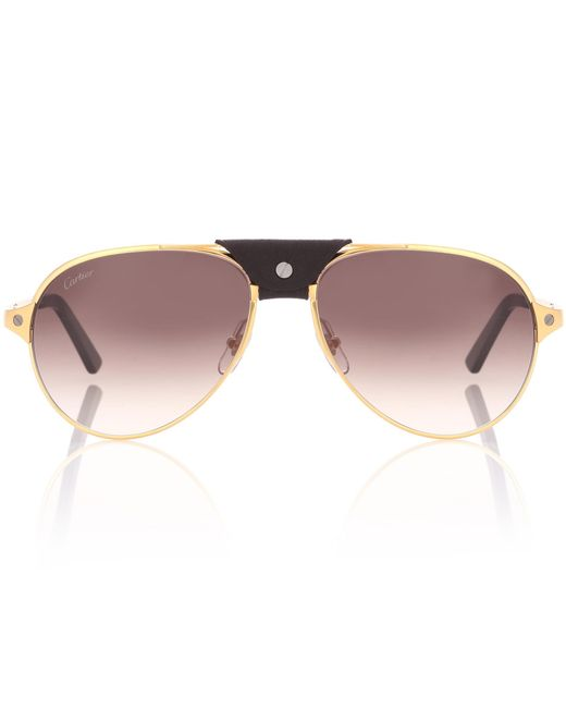 Cartier Metallic Santos De Cartier Aviator Sunglasses