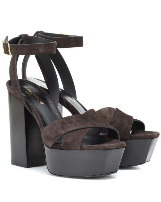 Saint Laurent - Black Farrah 125 Suede Platform Sandals - Lyst