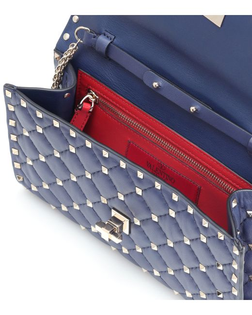 a300b049a9fa Lyst - Valentino Rockstud Spike Leather Shoulder Bag in Blue - Save ...
