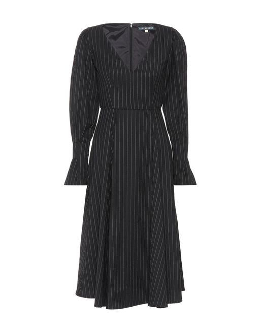 AlexaChung Black Pinstripe Wool-blend Dress