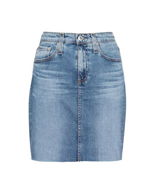 AG Jeans Blue The Erin Denim Miniskirt