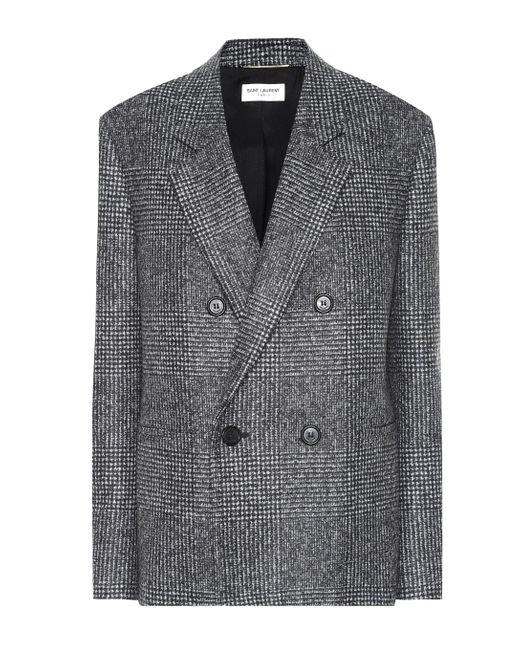 Blazer in principe di Galles di lana di Saint Laurent in Gray