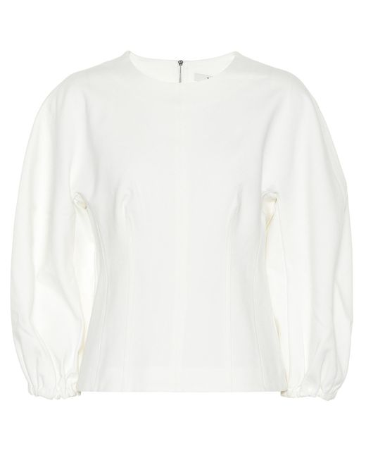 Tibi Top de manga larga de mujer de color blanco