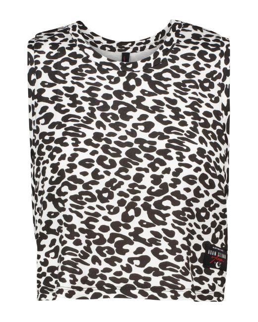 Adam Selman Sport White Sleep Leopard Printed Top