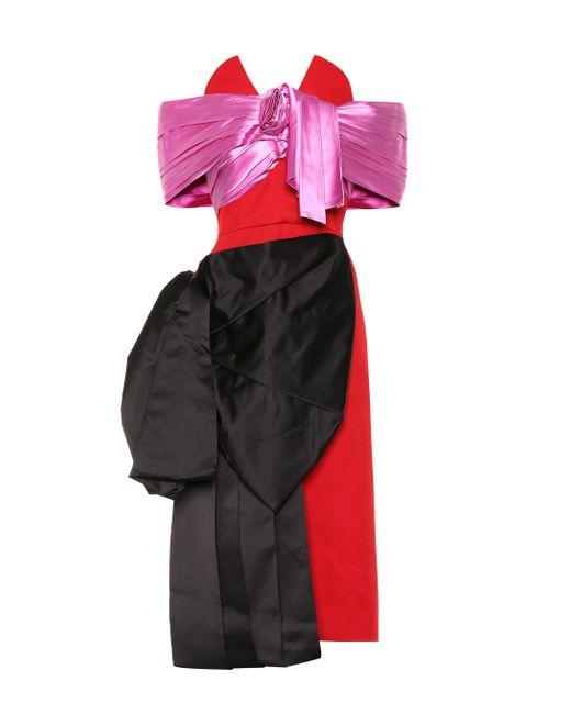 Prada Red Robe aus Wolle und Seidensatin
