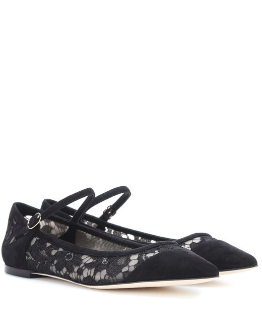 Dolce & Gabbana - Black Lace And Suede Ballerinas - Lyst