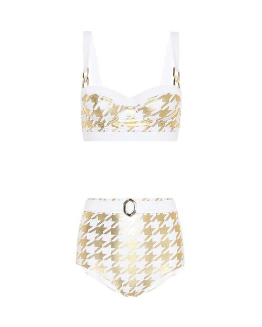 Balmain Metallic Exclusive To Mytheresa – Houndstooth-printed Bikini