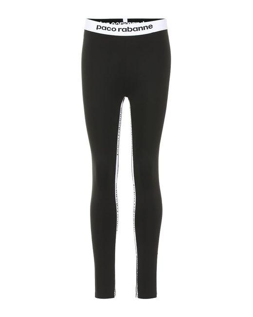 Leggings con logo di Paco Rabanne in Black