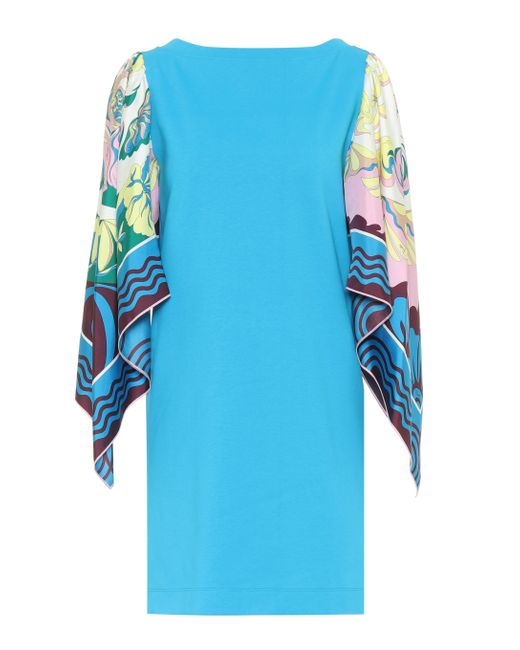 Robe imprimée en coton et soie Emilio Pucci en coloris Blue