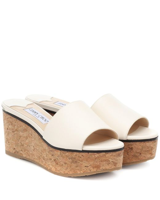 Jimmy Choo White Exclusive To Mytheresa – Deedee 80 Leather Platform Sandals