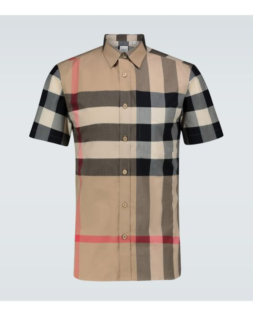 Burberry Natural Somerton Checked Regular-fit Stretch-cotton Poplin Shirt for men
