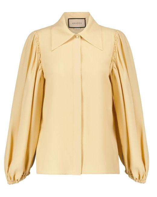 Gucci White Bell-sleeve Shirt