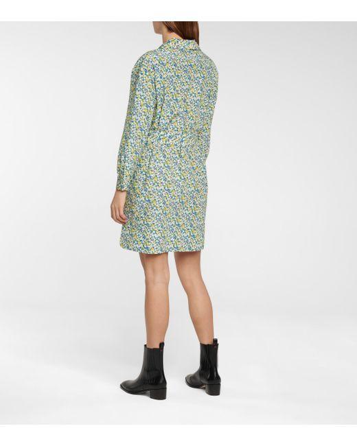 A.P.C. Blue Minikleid Melissa aus Seide und Baumwolle