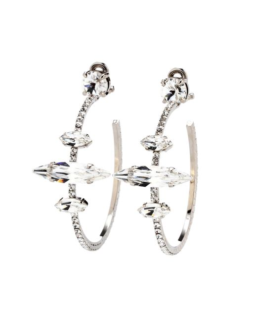 Miu Miu - Metallic Embellished Clip-on Hoop Earrings - Lyst