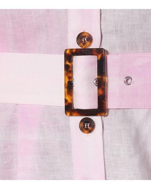 Solid & Striped White Bedrucktes Maxikleid aus Leinen
