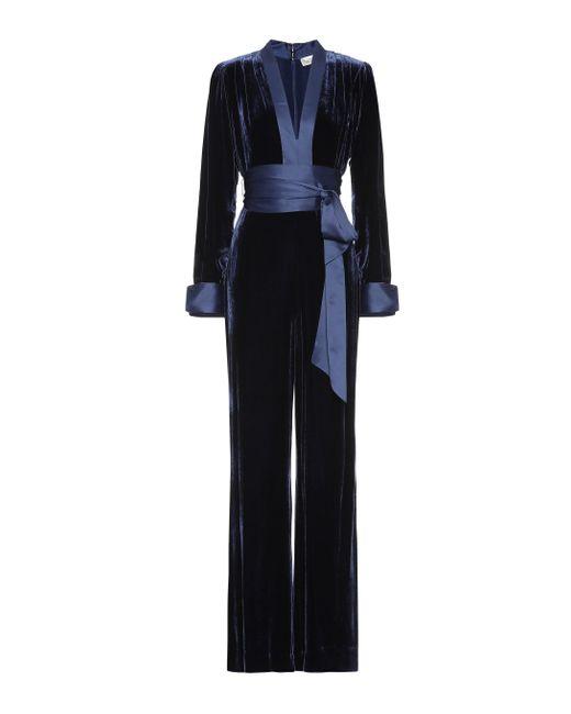 Diane von Furstenberg Blue Velvet Jumpsuit