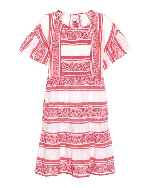 Velvet Red Striped Cotton Dress