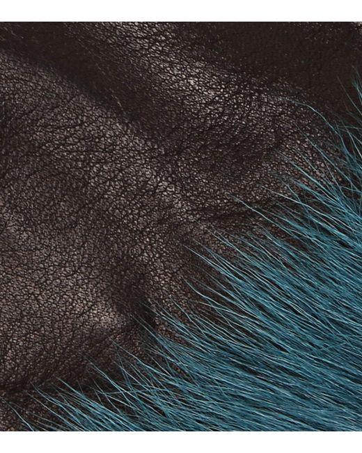 35f75eec0559c ... Prada - Black Handschuhe aus Leder mit Pelz - Lyst ...