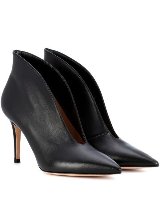 Gianvito Rossi - Black Vamp 85 Leather Ankle Boots - Lyst