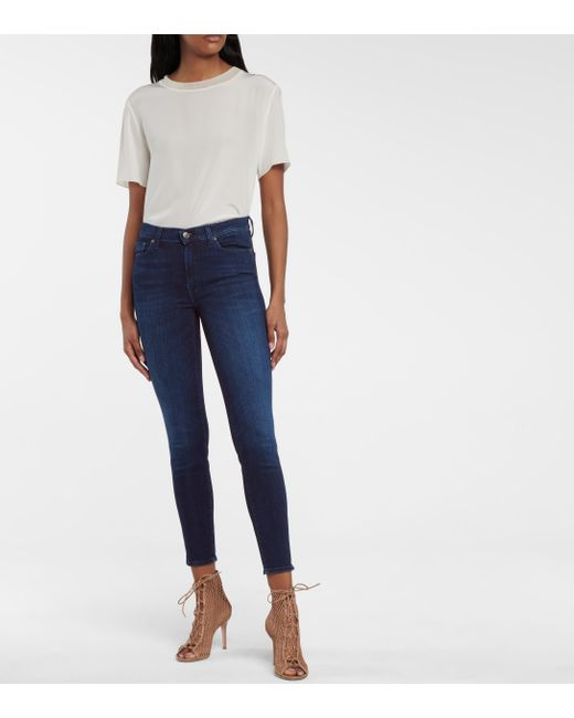 7 For All Mankind Blue Slim Illusion High-rise Cropped Skinny Jeans