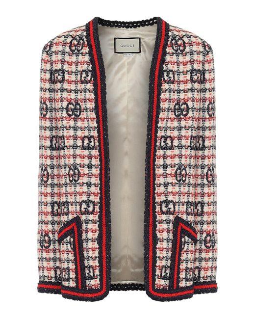 Veste en tweed de laine mélangée à carreaux Gucci en coloris Red