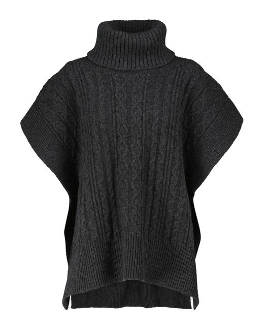 See By Chloé Black Cable-knit Wool-blend Sweater