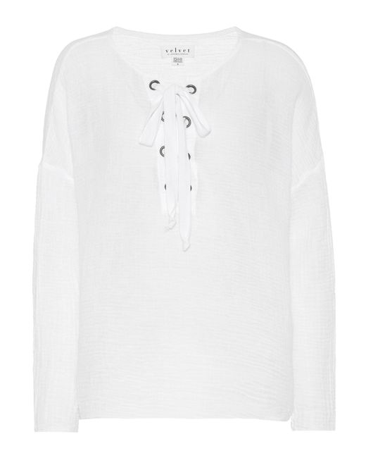 Velvet White Alina Lace-up Cotton Top