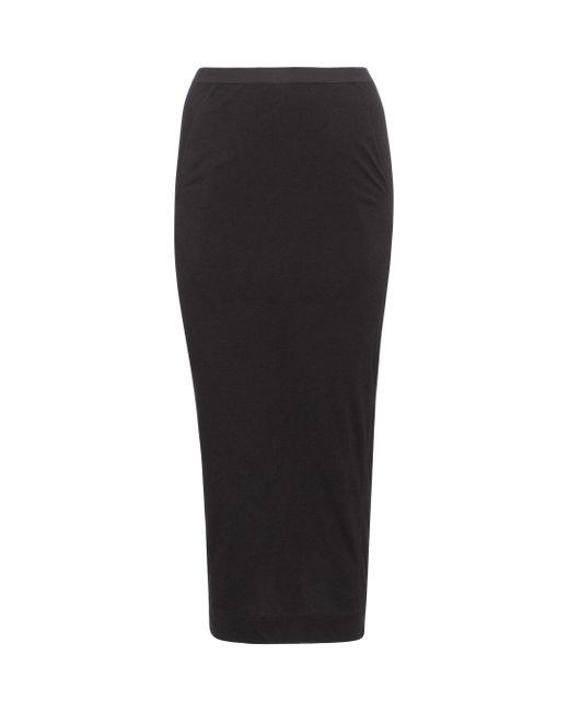 Rick Owens Black Lilies Jersey Midi Skirt