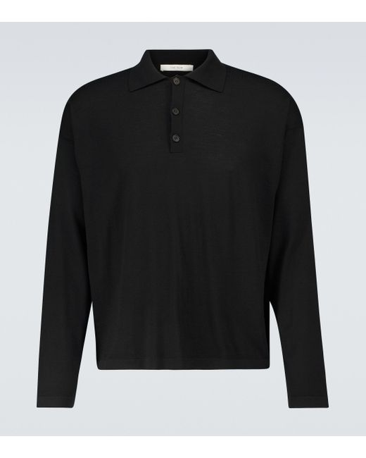 The Row Black Djon Wool Polo Sweater for men