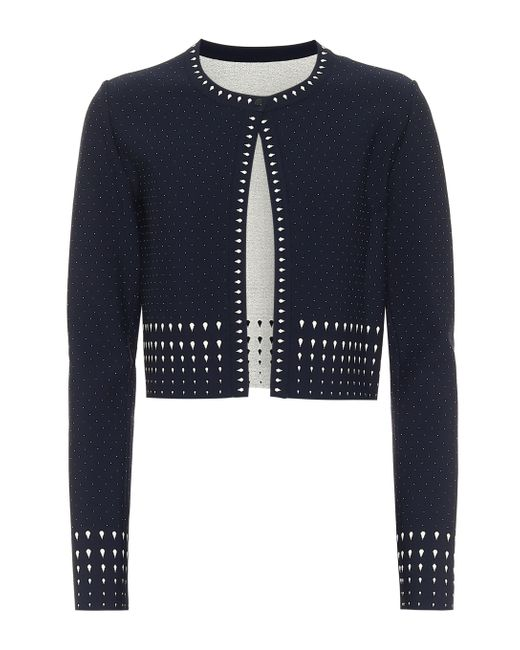 Alaïa Blue Stretch-knit Cardigan