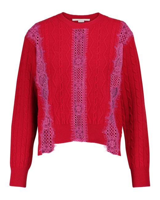 Pull en laine vierge et dentelle Stella McCartney en coloris Red