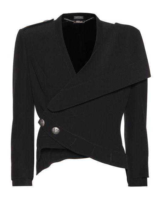 Alexander McQueen - Metallic Black Cropped Crêpe Jacket - Lyst