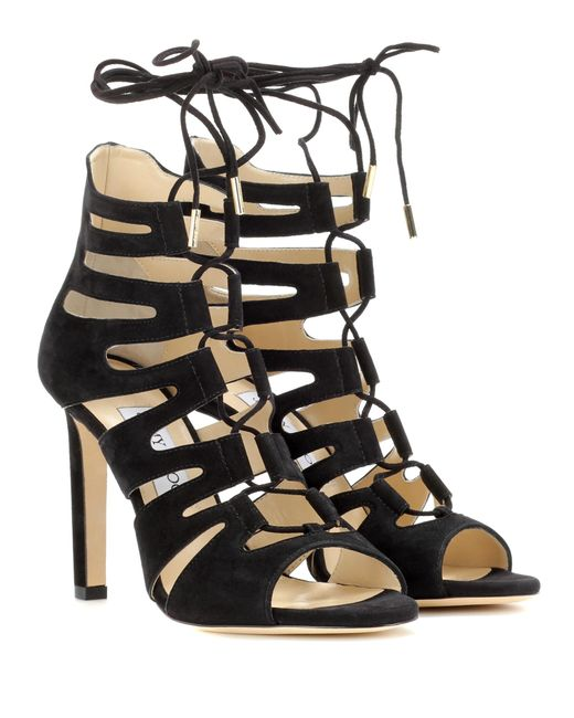 Jimmy Choo - Black Hitch 100 Suede Sandals - Lyst